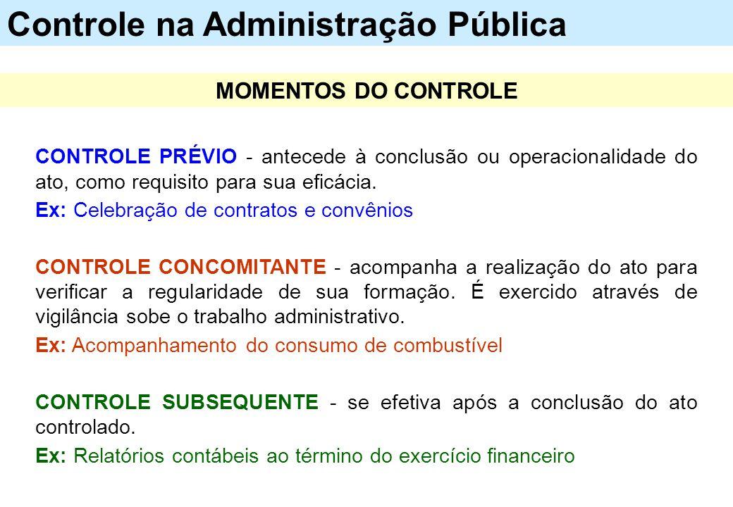 CONTROLE PRÉVIO - antecede à conclusão ou operacionalidade do ato, como requisito para sua eficácia. Ex: Celebração de contratos e convênios CONTROLE