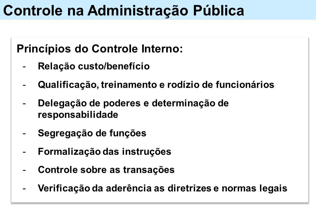 Controle na Administração Pública Princípios do Controle Interno: -Relação custo/benefício -Qualificação, treinamento e rodízio de funcionários -Deleg