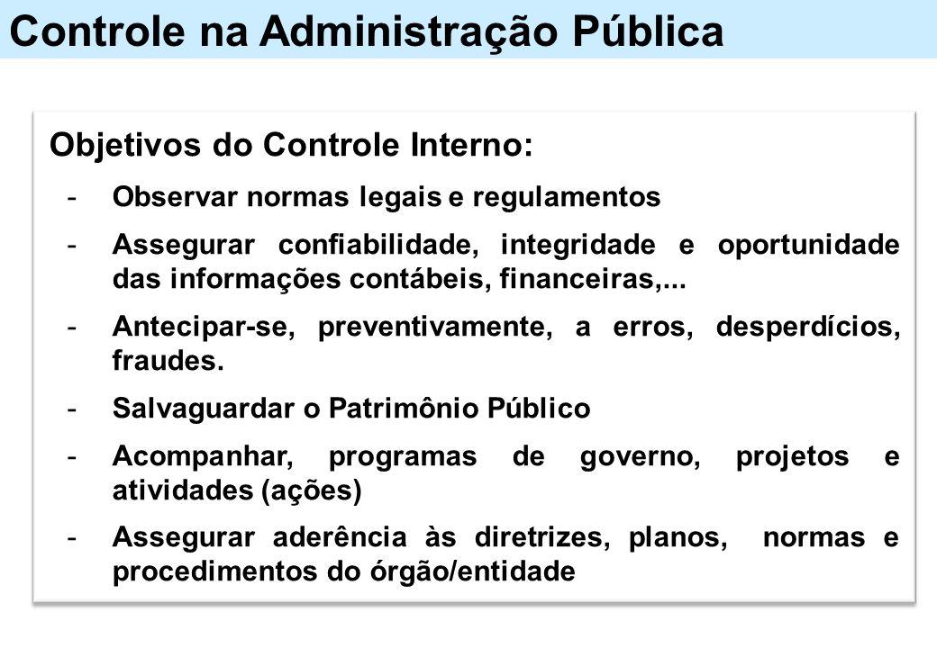 Controle na Administração Pública Objetivos do Controle Interno: -Observar normas legais e regulamentos -Assegurar confiabilidade, integridade e oport
