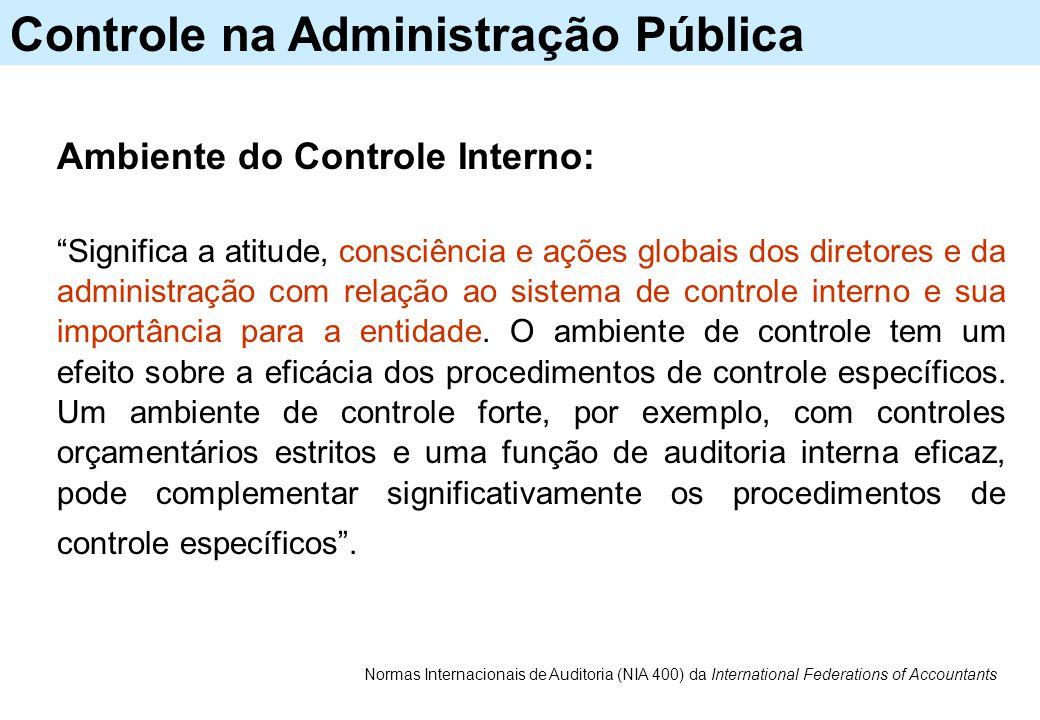 """Controle na Administração Pública Ambiente do Controle Interno: """"Significa a atitude, consciência e ações globais dos diretores e da administração com"""