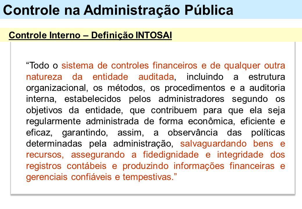 """Controle na Administração Pública Controle Interno – Definição INTOSAI """"Todo o sistema de controles financeiros e de qualquer outra natureza da entida"""