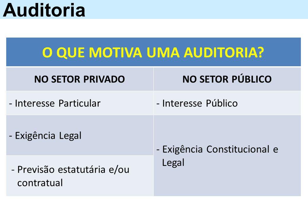 Auditoria O QUE MOTIVA UMA AUDITORIA? NO SETOR PRIVADONO SETOR PÚBLICO - Interesse Particular- Interesse Público - Exigência Legal - Exigência Constit