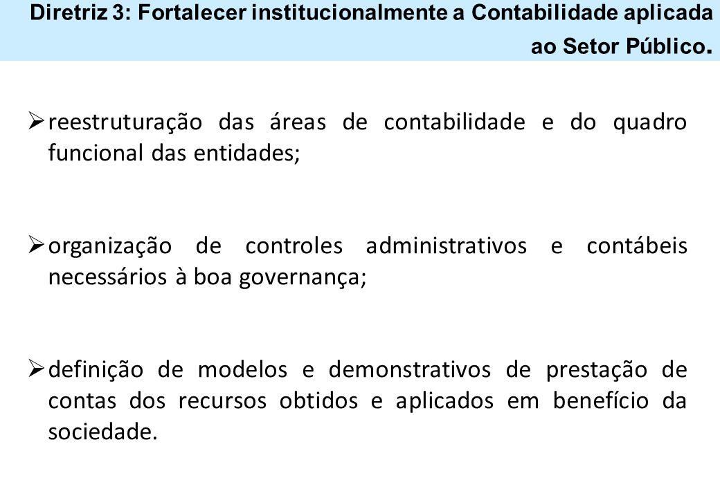 Diretriz 3: Fortalecer institucionalmente a Contabilidade aplicada ao Setor Público.  reestruturação das áreas de contabilidade e do quadro funcional