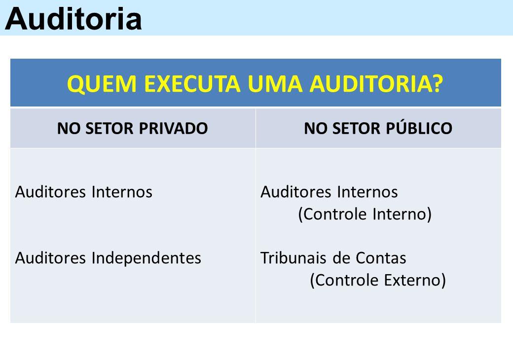 Auditoria QUEM EXECUTA UMA AUDITORIA? NO SETOR PRIVADONO SETOR PÚBLICO Auditores Internos Auditores Independentes Auditores Internos (Controle Interno
