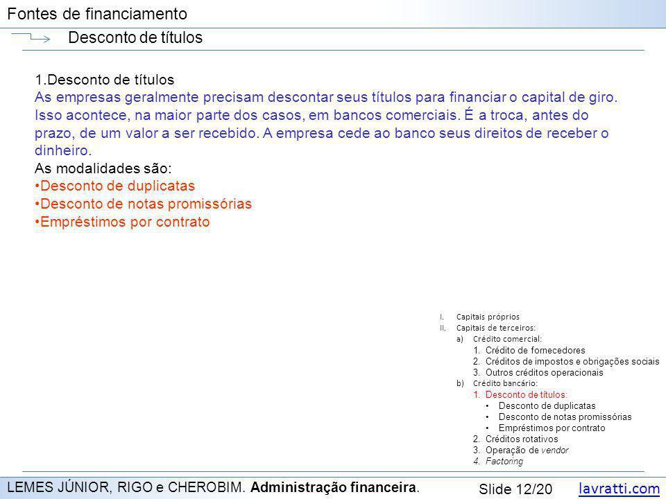 lavratti.com Slide 12/20 Fontes de financiamento Desconto de títulos LEMES JÚNIOR, RIGO e CHEROBIM. Administração financeira. 1.Desconto de títulos As