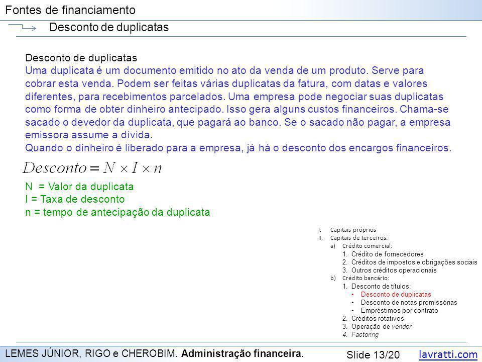 lavratti.com Slide 13/20 Fontes de financiamento Desconto de duplicatas LEMES JÚNIOR, RIGO e CHEROBIM. Administração financeira. Desconto de duplicata