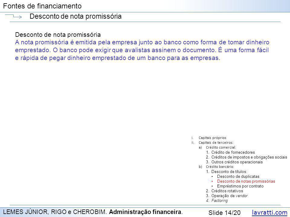 lavratti.com Slide 14/20 Fontes de financiamento Desconto de nota promissória LEMES JÚNIOR, RIGO e CHEROBIM. Administração financeira. Desconto de not