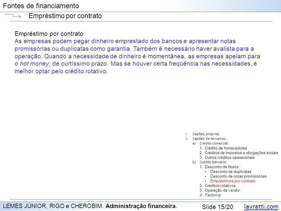 lavratti.com Slide 15/20 Fontes de financiamento Empréstimo por contrato LEMES JÚNIOR, RIGO e CHEROBIM. Administração financeira. Empréstimo por contr