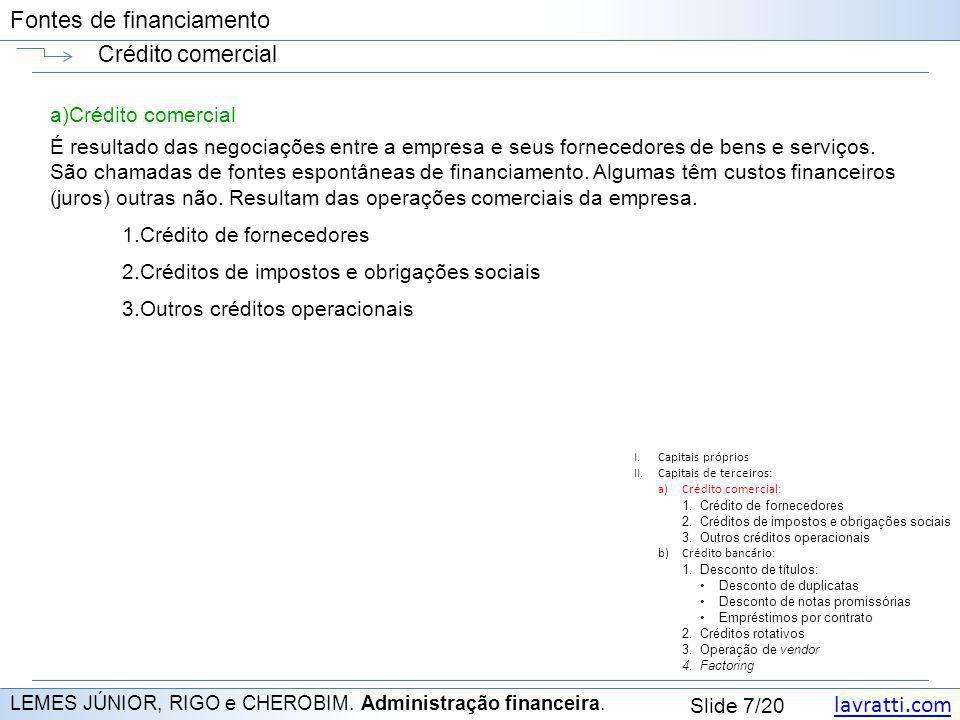 lavratti.com Slide 7/20 Fontes de financiamento Crédito comercial LEMES JÚNIOR, RIGO e CHEROBIM. Administração financeira. a)Crédito comercial É resul