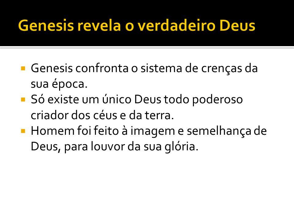  Genesis confronta o sistema de crenças da sua época.  Só existe um único Deus todo poderoso criador dos céus e da terra.  Homem foi feito à imagem