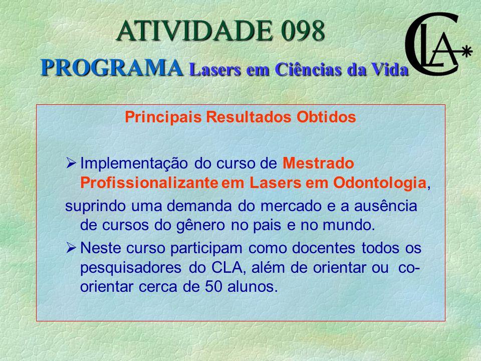 Principais Resultados Obtidos  Implementação do curso de Mestrado Profissionalizante em Lasers em Odontologia, suprindo uma demanda do mercado e a ausência de cursos do gênero no pais e no mundo.