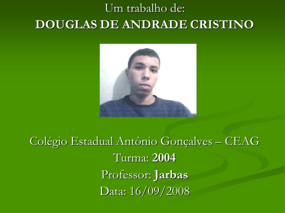 Um trabalho de: DOUGLAS DE ANDRADE CRISTINO Colégio Estadual Antônio Gonçalves – CEAG Turma: 2004 Professor: Jarbas Data: 16/09/2008