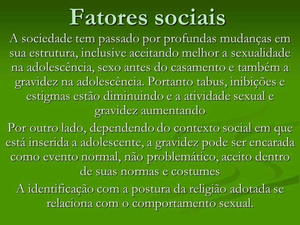 Fatores sociais A sociedade tem passado por profundas mudanças em sua estrutura, inclusive aceitando melhor a sexualidade na adolescência, sexo antes