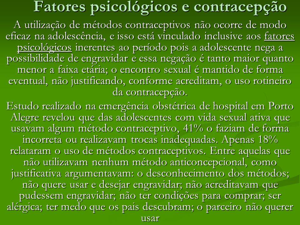 Fatores psicológicos e contracepção A utilização de métodos contraceptivos não ocorre de modo eficaz na adolescência, e isso está vinculado inclusive