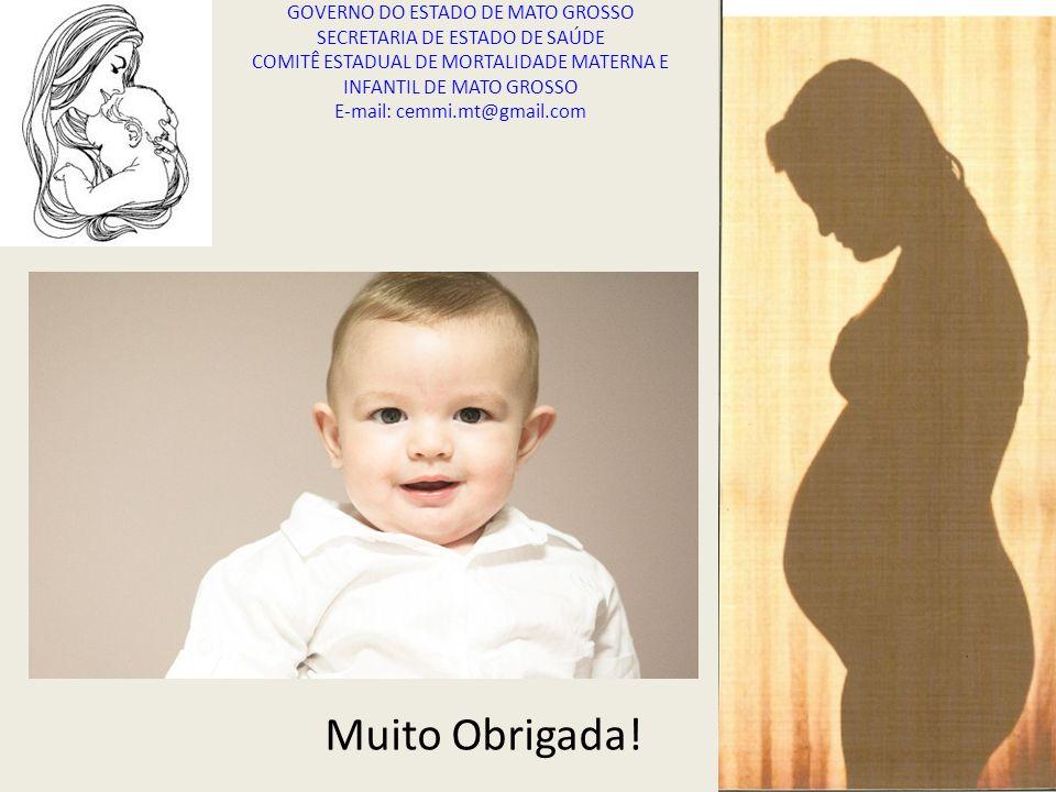 Muito Obrigada! GOVERNO DO ESTADO DE MATO GROSSO SECRETARIA DE ESTADO DE SAÚDE COMITÊ ESTADUAL DE MORTALIDADE MATERNA E INFANTIL DE MATO GROSSO E-mail
