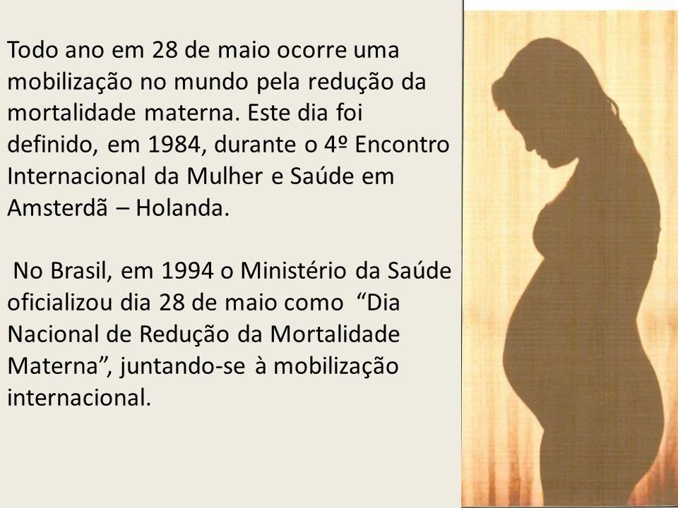 Todo ano em 28 de maio ocorre uma mobilização no mundo pela redução da mortalidade materna. Este dia foi definido, em 1984, durante o 4º Encontro Inte