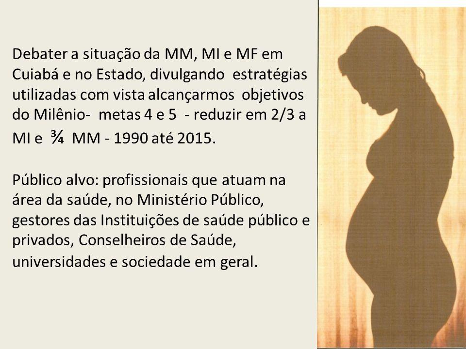 Debater a situação da MM, MI e MF em Cuiabá e no Estado, divulgando estratégias utilizadas com vista alcançarmos objetivos do Milênio- metas 4 e 5 - r