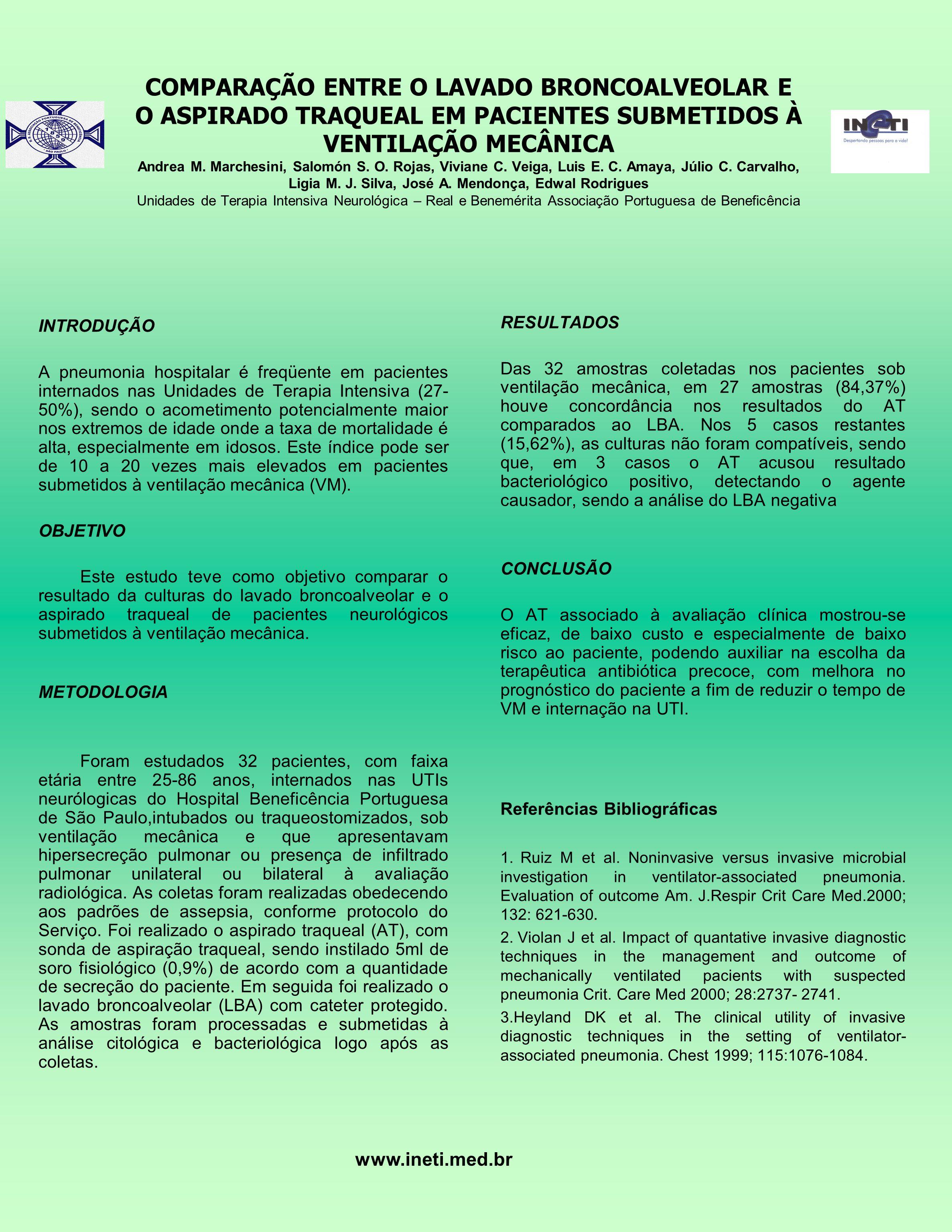 COMPARAÇÃO ENTRE O LAVADO BRONCOALVEOLAR E O ASPIRADO TRAQUEAL EM PACIENTES SUBMETIDOS À VENTILAÇÃO MECÂNICA Andrea M.
