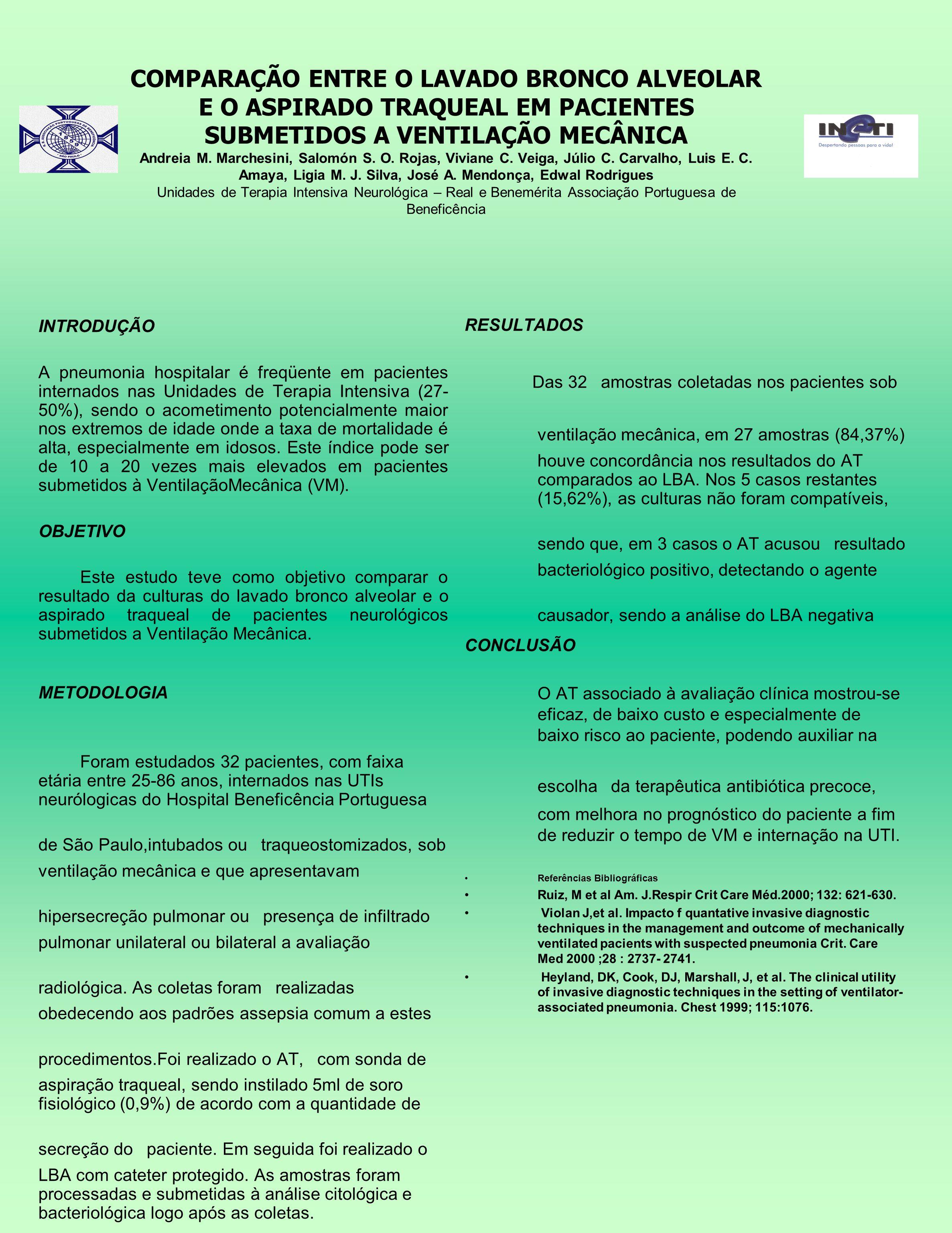COMPARAÇÃO ENTRE O LAVADO BRONCO ALVEOLAR E O ASPIRADO TRAQUEAL EM PACIENTES SUBMETIDOS A VENTILAÇÃO MECÂNICA Andreia M. Marchesini, Salomón S. O. Roj