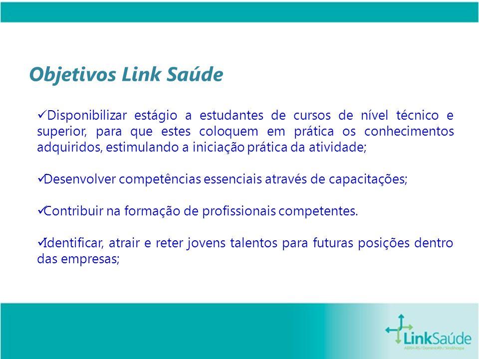 Objetivos Link Saúde Disponibilizar estágio a estudantes de cursos de nível técnico e superior, para que estes coloquem em prática os conhecimentos ad
