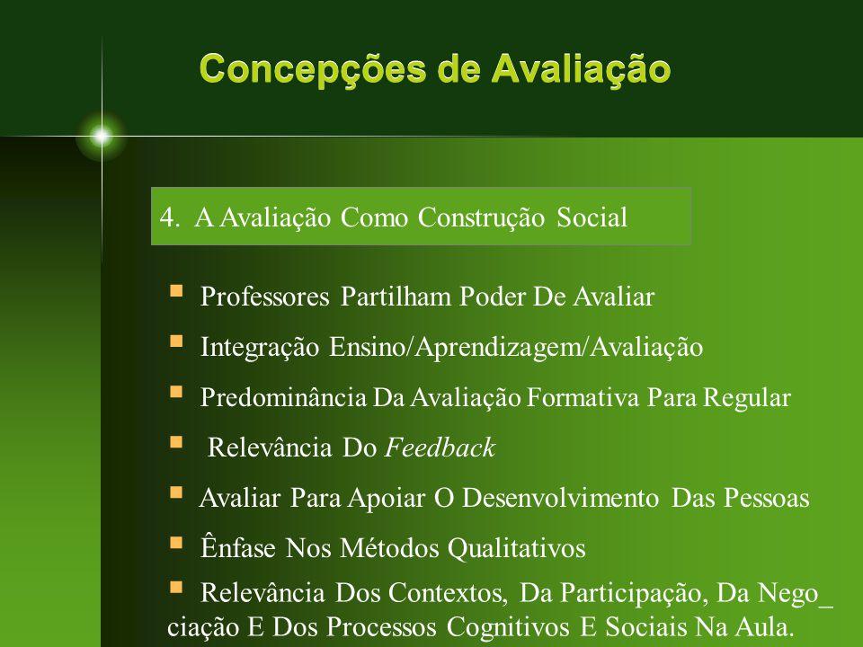 Concepções de Avaliação 4. A Avaliação Como Construção Social  Professores Partilham Poder De Avaliar  Integração Ensino/Aprendizagem/Avaliação  Pr
