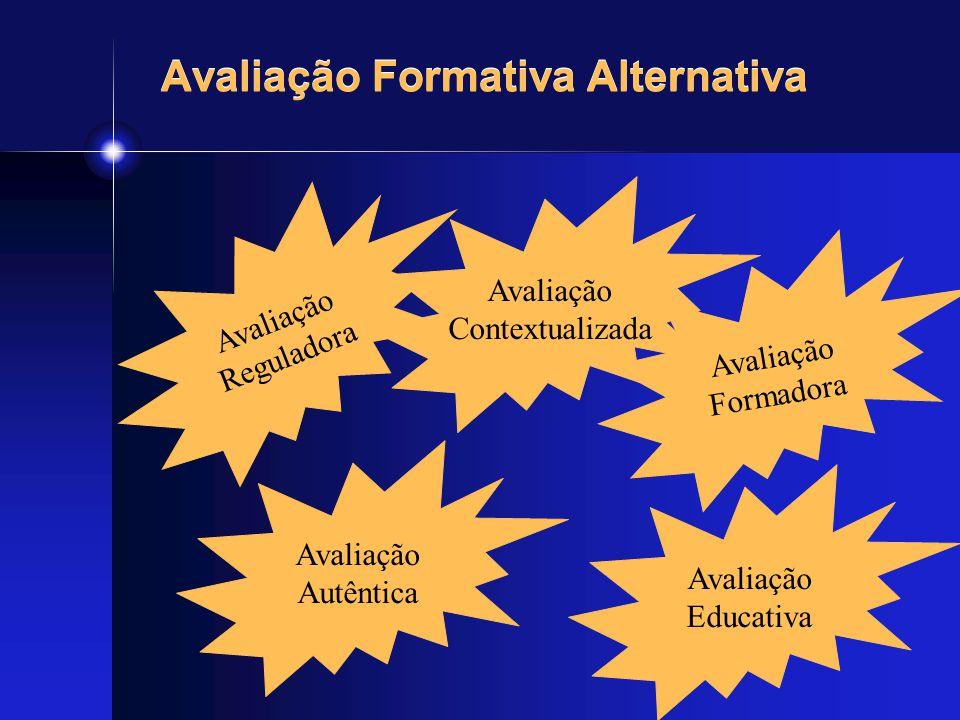Avaliação Formativa Alternativa Avaliação Reguladora Avaliação Autêntica Avaliação Contextualizada Avaliação Educativa Avaliação Formadora