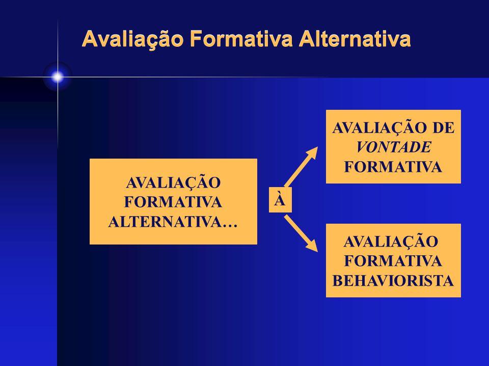 Avaliação Formativa Alternativa AVALIAÇÃO FORMATIVA ALTERNATIVA… À AVALIAÇÃO DE VONTADE FORMATIVA AVALIAÇÃO FORMATIVA BEHAVIORISTA
