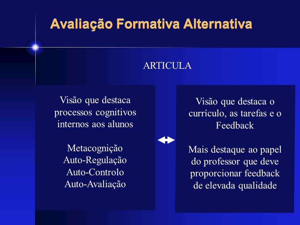 Avaliação Formativa Alternativa ARTICULA Visão que destaca processos cognitivos internos aos alunos Metacognição Auto-Regulação Auto-Controlo Auto-Ava