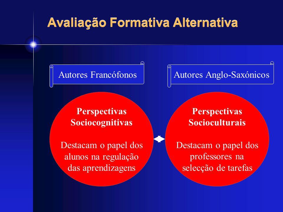 Avaliação Formativa Alternativa Perspectivas Sociocognitivas Destacam o papel dos alunos na regulação das aprendizagens Perspectivas Socioculturais De