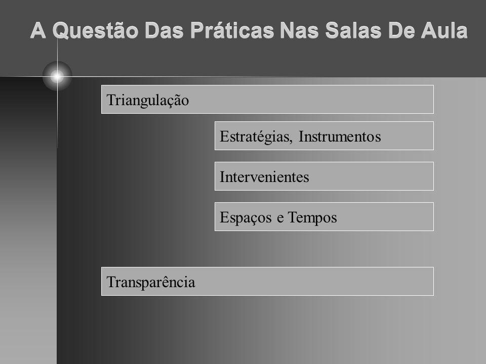 A Questão Das Práticas Nas Salas De Aula Triangulação Estratégias, Instrumentos Intervenientes Espaços e Tempos Transparência