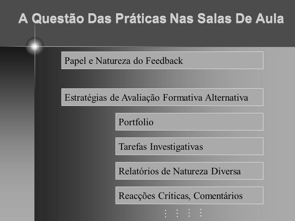 A Questão Das Práticas Nas Salas De Aula Papel e Natureza do Feedback Estratégias de Avaliação Formativa Alternativa Portfolio Tarefas Investigativas