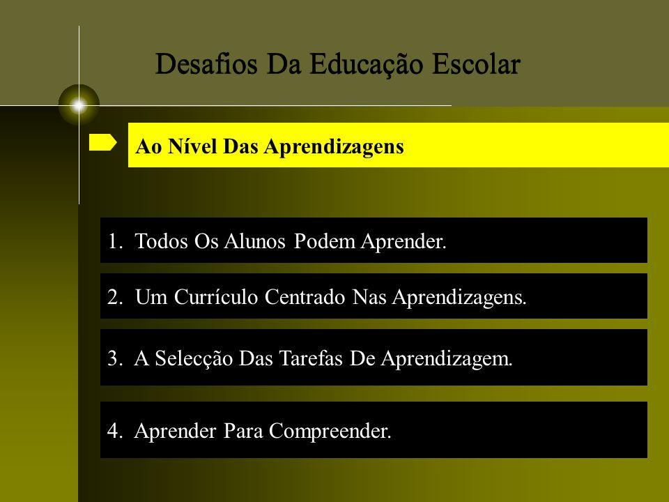 Desafios Da Educação Escolar 1. Todos Os Alunos Podem Aprender. 3. A Selecção Das Tarefas De Aprendizagem. Ao Nível Das Aprendizagens 2. Um Currículo