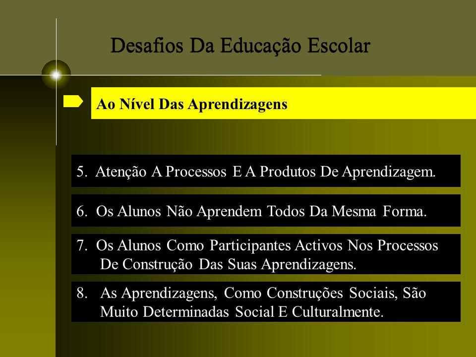 Desafios Da Educação Escolar 5. Atenção A Processos E A Produtos De Aprendizagem. 7. Os Alunos Como Participantes Activos Nos Processos De Construção