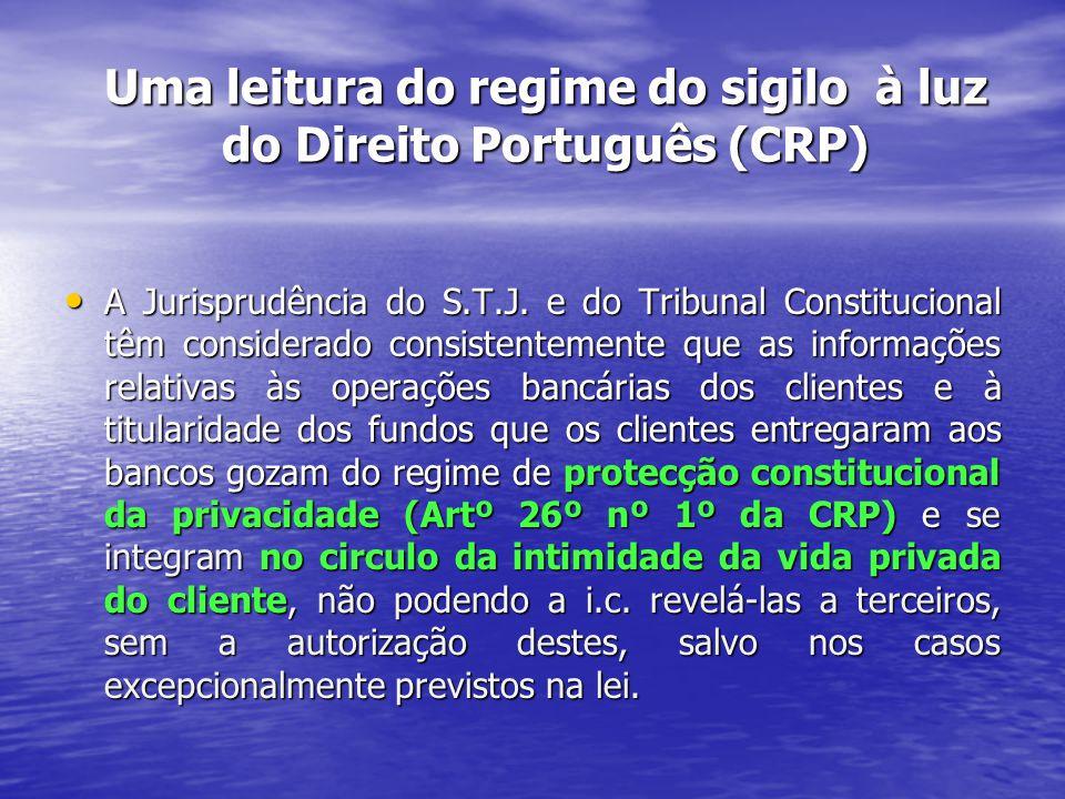 Uma leitura do regime do sigilo à luz do Direito Português (CRP) A Jurisprudência do S.T.J.