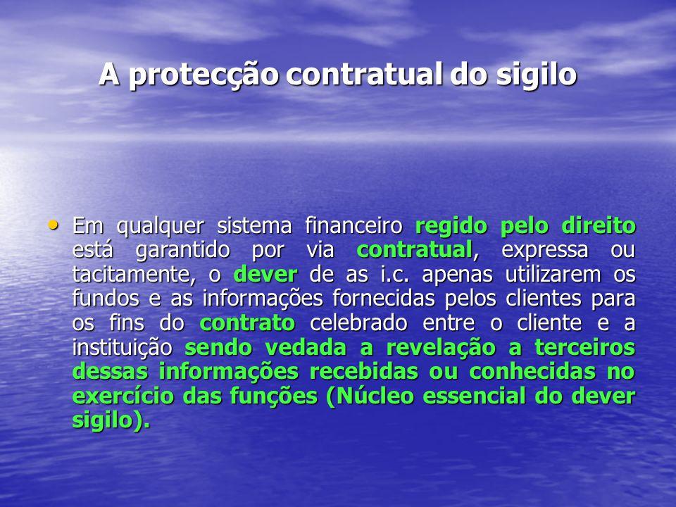 A protecção contratual do sigilo Em qualquer sistema financeiro regido pelo direito está garantido por via contratual, expressa ou tacitamente, o dever de as i.c.