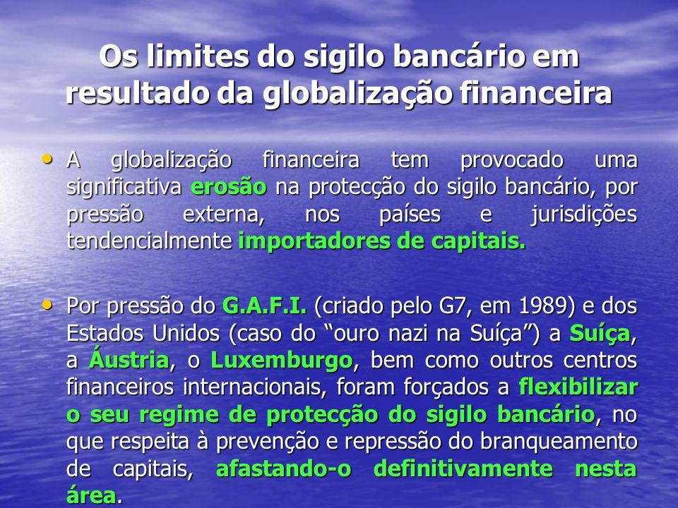 Os limites do sigilo bancário em resultado da globalização financeira A globalização financeira tem provocado uma significativa erosão na protecção do sigilo bancário, por pressão externa, nos países e jurisdições tendencialmente importadores de capitais.