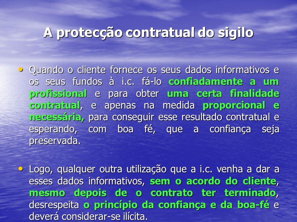 A protecção contratual do sigilo A obrigação contratual apenas vincula a i.c.