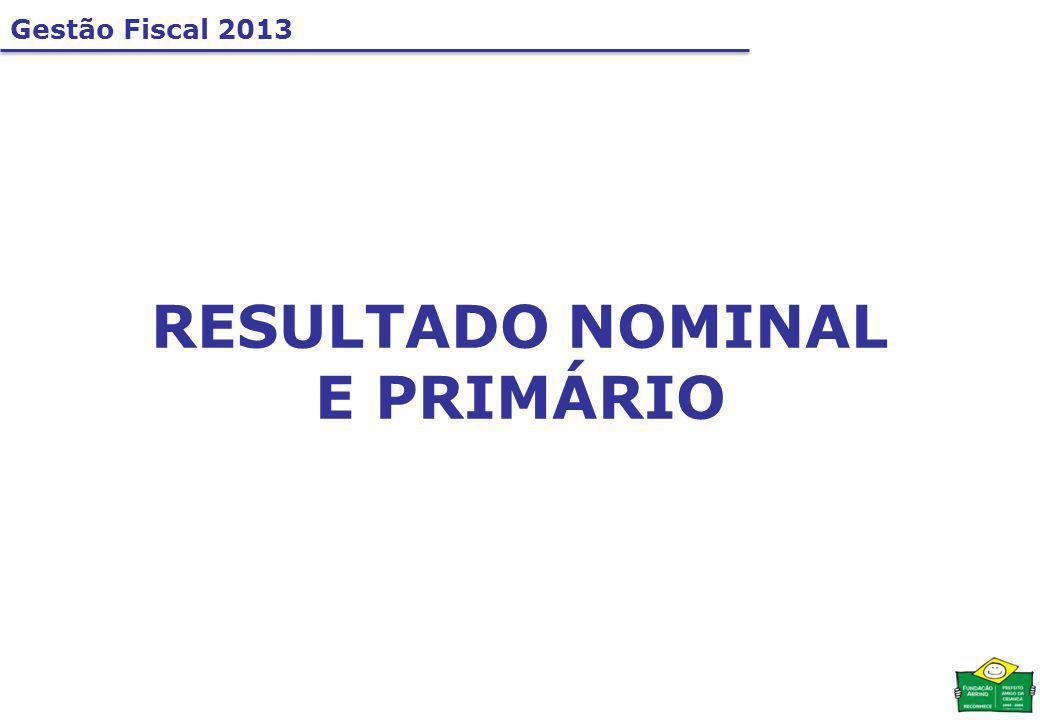 Gestão Fiscal 2013 RESULTADO NOMINAL E PRIMÁRIO