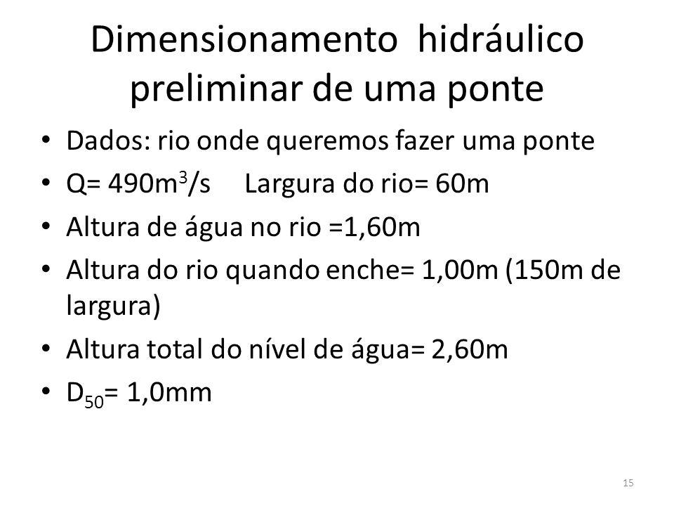 Dimensionamento hidráulico preliminar de uma ponte Dados: rio onde queremos fazer uma ponte Q= 490m 3 /s Largura do rio= 60m Altura de água no rio =1,