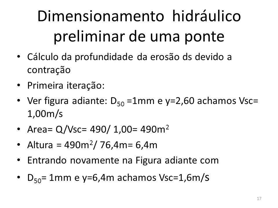 Dimensionamento hidráulico preliminar de uma ponte Cálculo da profundidade da erosão ds devido a contração Primeira iteração: Ver figura adiante: D 50 =1mm e y=2,60 achamos Vsc= 1,00m/s Area= Q/Vsc= 490/ 1,00= 490m 2 Altura = 490m 2 / 76,4m= 6,4m Entrando novamente na Figura adiante com D 50 = 1mm e y=6,4m achamos Vsc=1,6m/ s 17