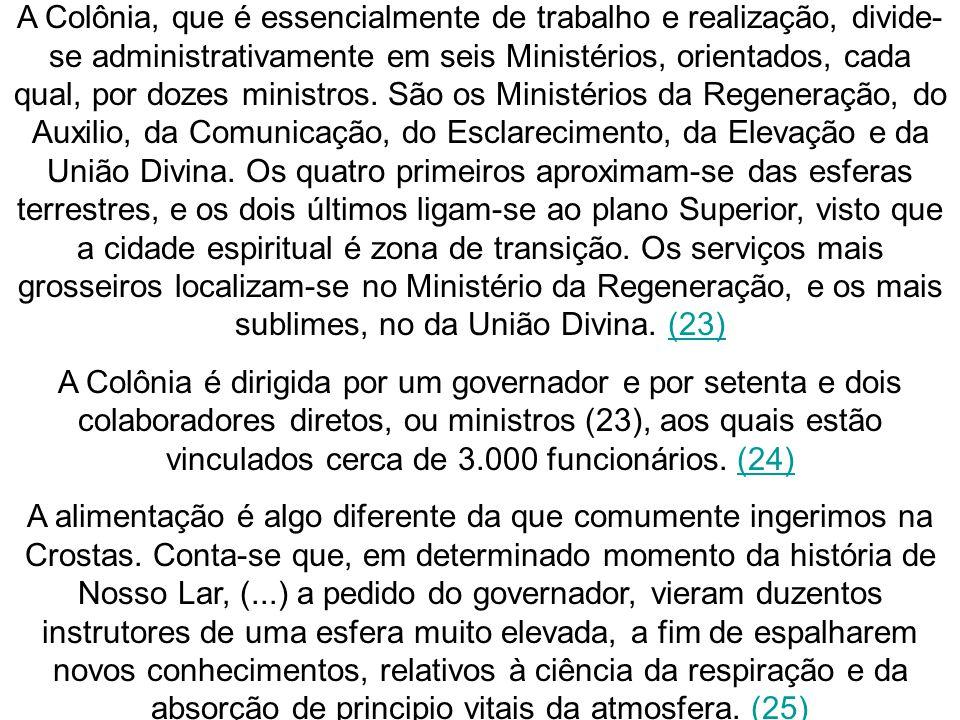 A Colônia, que é essencialmente de trabalho e realização, divide- se administrativamente em seis Ministérios, orientados, cada qual, por dozes ministr