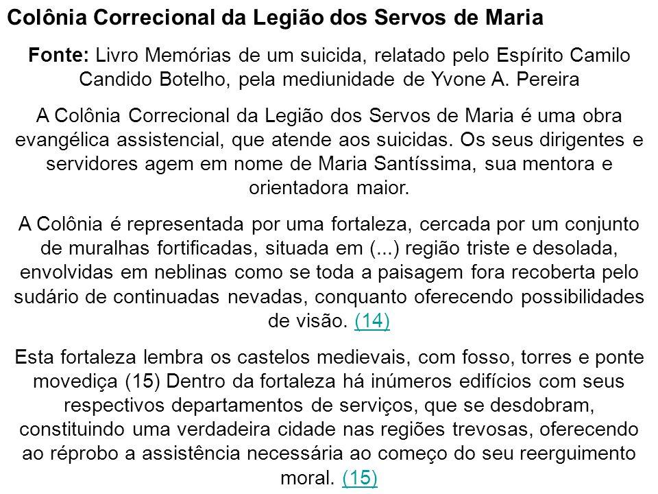 Colônia Correcional da Legião dos Servos de Maria Fonte: Livro Memórias de um suicida, relatado pelo Espírito Camilo Candido Botelho, pela mediunidade