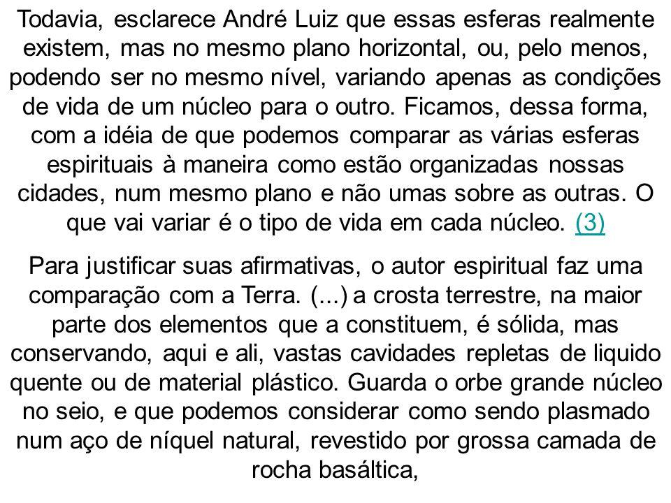Todavia, esclarece André Luiz que essas esferas realmente existem, mas no mesmo plano horizontal, ou, pelo menos, podendo ser no mesmo nível, variando