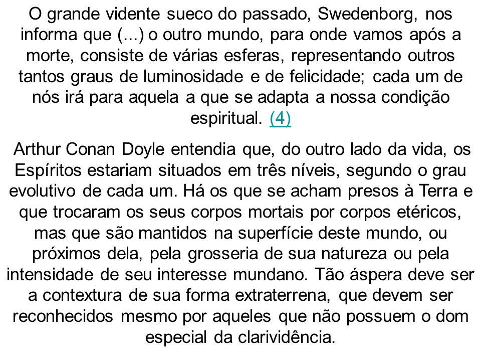O grande vidente sueco do passado, Swedenborg, nos informa que (...) o outro mundo, para onde vamos após a morte, consiste de várias esferas, represen