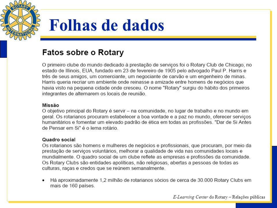 E-Learning Center do Rotary – Relações públicas Folhas de dados