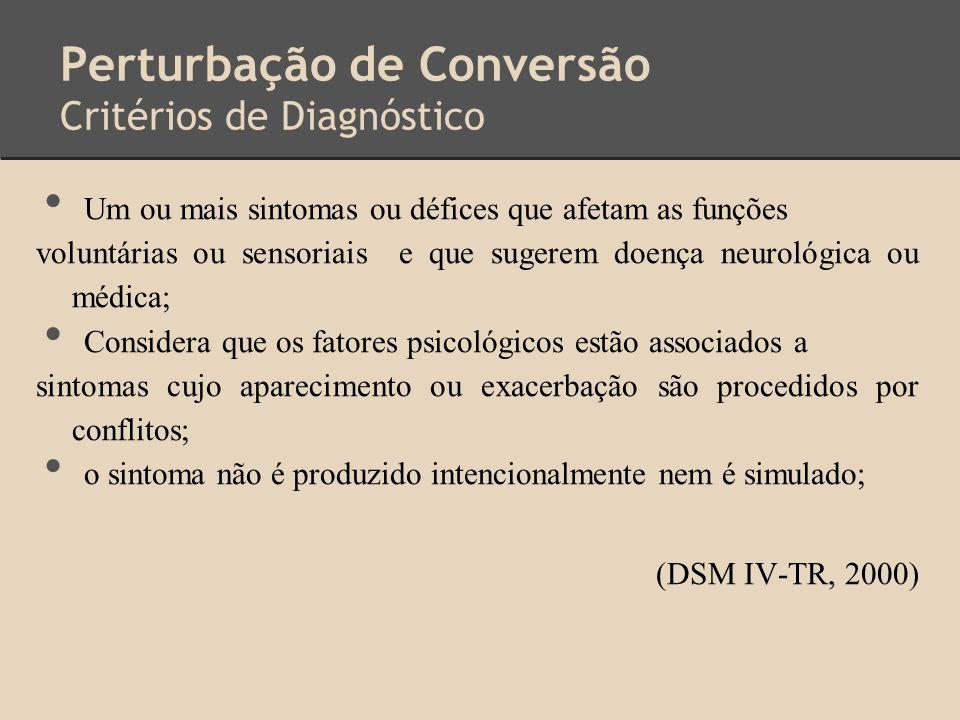 Perturbação de Conversão Critérios de Diagnóstico Um ou mais sintomas ou défices que afetam as funções voluntárias ou sensoriais e que sugerem doença