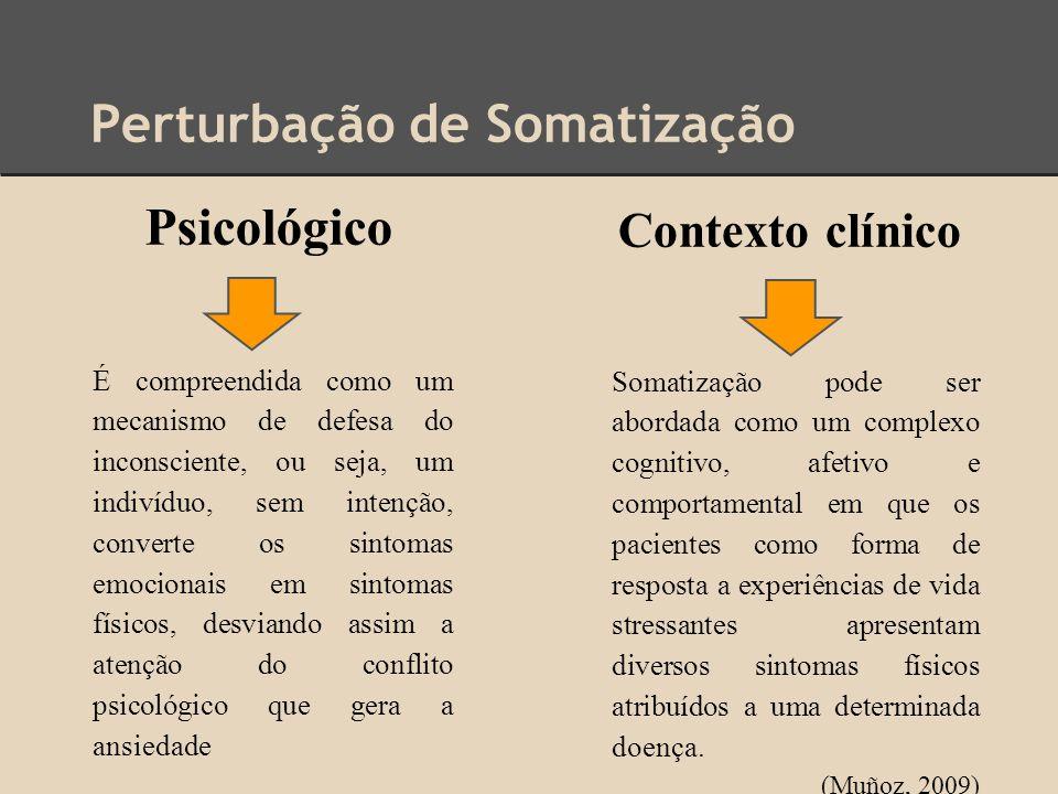 Perturbação de Somatização Psicológico Contexto clínico É compreendida como um mecanismo de defesa do inconsciente, ou seja, um indivíduo, sem intençã