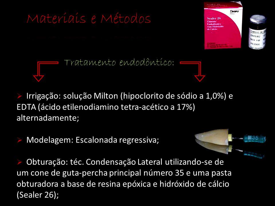 Tratamento endodôntico:  Irrigação: solução Milton (hipoclorito de sódio a 1,0%) e EDTA (ácido etilenodiamino tetra-acético a 17%) alternadamente; 