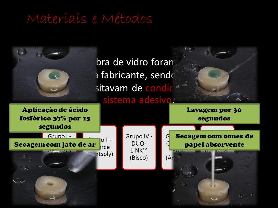 Os pinos de fibra de vidro foram cimentados de acordo com cada fabricante, sendo que os Grupos 1, 2, 4, 5 e 6, necessitavam de condicionamento ácido e