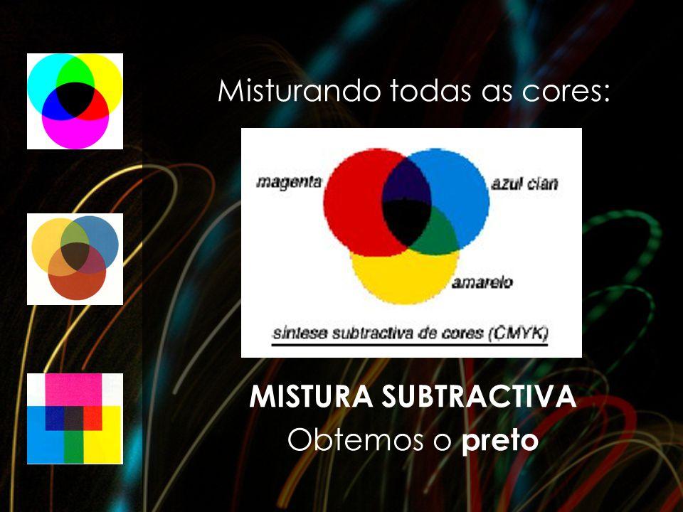 Misturando todas as cores: MISTURA SUBTRACTIVA Obtemos o preto